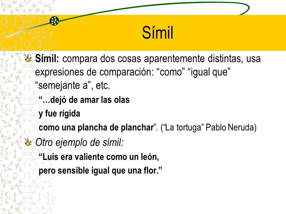 Símil Símil: compara dos cosas aparentemente distintas, usa expresiones de comparación: como igual que semejante a, etc.