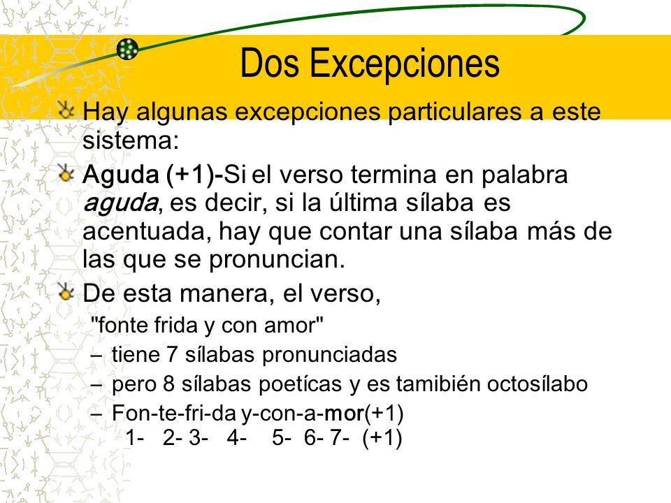 Dos Excepciones Hay algunas excepciones particulares a este sistema: Aguda (+1)-Si el verso termina en palabra aguda, es decir, si la última sílaba es acentuada, hay que contar una sílaba más de las que se pronuncian.