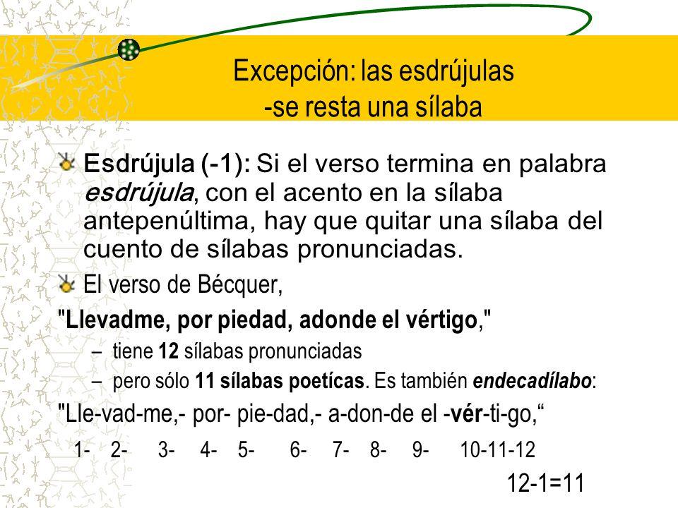 Excepción: las esdrújulas -se resta una sílaba Esdrújula (-1): Si el verso termina en palabra esdrújula, con el acento en la sílaba antepenúltima, hay que quitar una sílaba del cuento de sílabas pronunciadas.