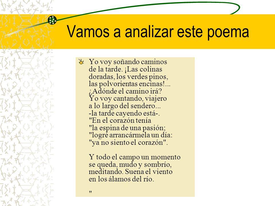 Vamos a analizar este poema Yo voy soñando caminos de la tarde.