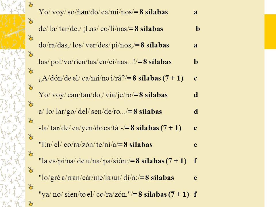 Yo/ voy/ so/ñan/do/ ca/mi/nos/= 8 sílabas a de/ la/ tar/de./ ¡Las/ co/li/nas/= 8 sílabas b do/ra/das,/ los/ ver/des/ pi/nos,/= 8 sílabas a las/ pol/vo/rien/tas/ en/ci/nas...!/= 8 sílabas b ¿A/dón/de el/ ca/mi/no i/rá?/= 8 sílabas (7 + 1)c Yo/ voy/ can/tan/do,/ via/je/ro/= 8 sílabasd a/ lo/ lar/go/ del/ sen/de/ro.../= 8 sílabasd -la/ tar/de/ ca/yen/do es/tá.-/= 8 sílabas (7 + 1)c En/ el/ co/ra/zón/ te/ní/a/= 8 sílabase la es/pi/na/ de u/na/ pa/sión;/= 8 sílabas (7 + 1)f lo/gré a/rran/cár/me/la un/ dí/a:/= 8 sílabase ya/ no/ sien/to el/ co/ra/zón. /= 8 sílabas (7 + 1)f