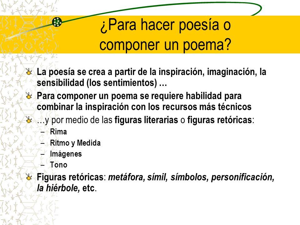 ¿Para hacer poesía o componer un poema.