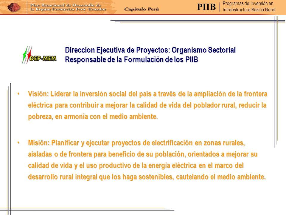 Direccion Ejecutiva de Proyectos: Organismo Sectorial Responsable de la Formulación de los PIIB Visión: Liderar la inversión social del país a través