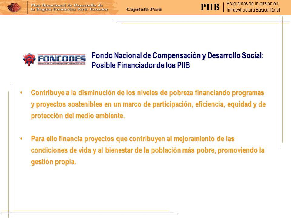 Fondo Nacional de Compensación y Desarrollo Social: Posible Financiador de los PIIB Contribuye a la disminución de los niveles de pobreza financiando
