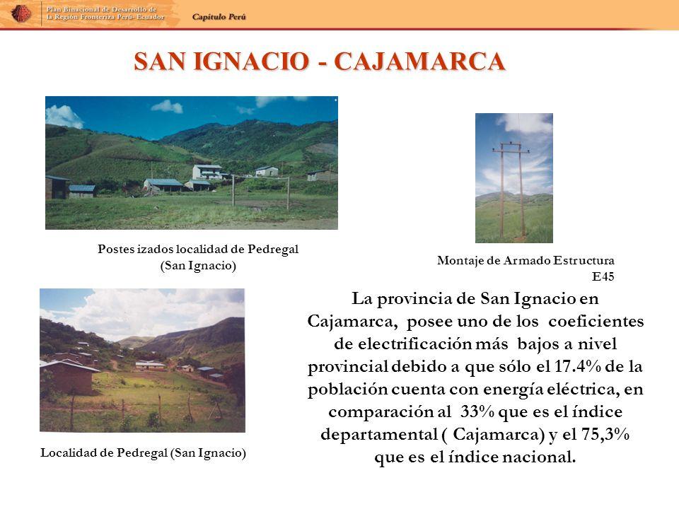 La provincia de San Ignacio en Cajamarca, posee uno de los coeficientes de electrificación más bajos a nivel provincial debido a que sólo el 17.4% de