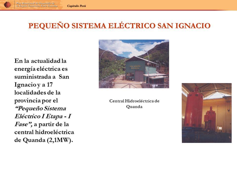 PEQUEÑO SISTEMA ELÉCTRICO SAN IGNACIO En la actualidad la energía eléctrica es suministrada a San Ignacio y a 17 localidades de la provincia por el Pe