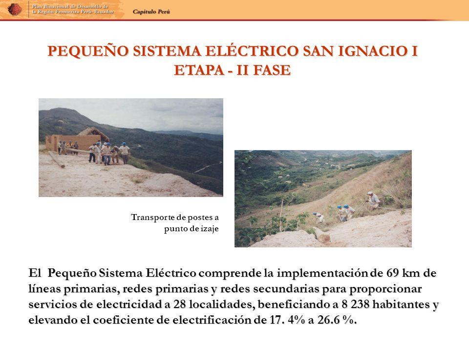 PEQUEÑO SISTEMA ELÉCTRICO SAN IGNACIO I ETAPA - II FASE El Pequeño Sistema Eléctrico comprende la implementación de 69 km de líneas primarias, redes p