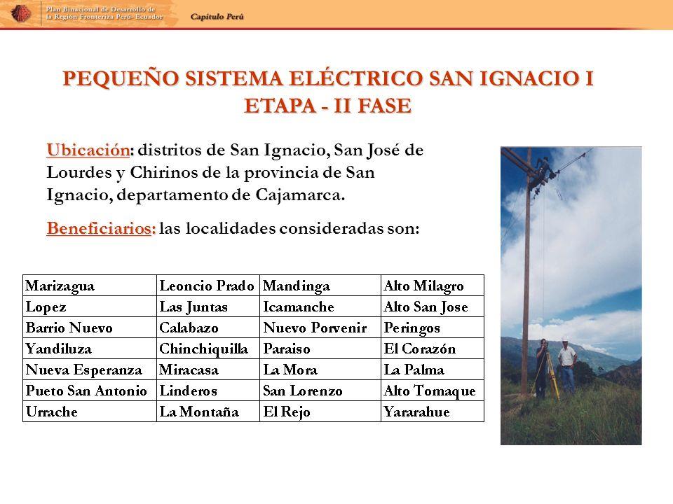 PEQUEÑO SISTEMA ELÉCTRICO SAN IGNACIO I ETAPA - II FASE Ubicación: Ubicación: distritos de San Ignacio, San José de Lourdes y Chirinos de la provincia