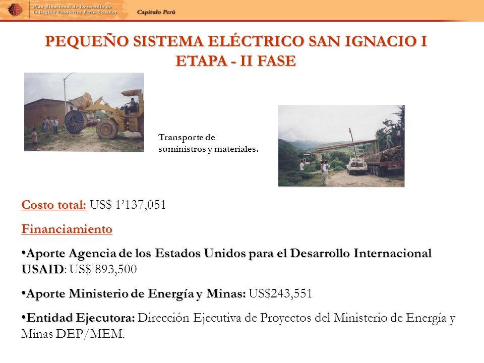 PEQUEÑO SISTEMA ELÉCTRICO SAN IGNACIO I ETAPA - II FASE Costo total: Costo total: US$ 1137,051Financiamiento Aporte Agencia de los Estados Unidos para