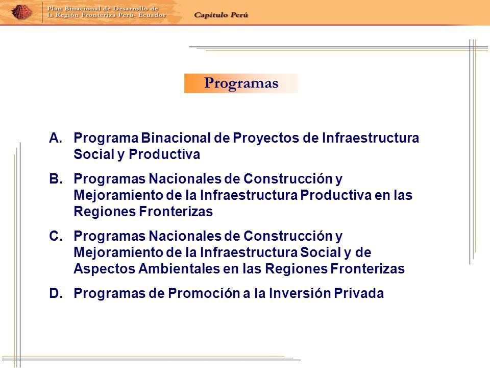 A. A.Programa Binacional de Proyectos de Infraestructura Social y Productiva B. B.Programas Nacionales de Construcción y Mejoramiento de la Infraestru