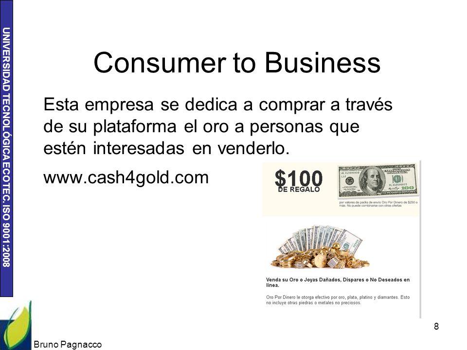 UNIVERSIDAD TECNOLÓGICA ECOTEC. ISO 9001:2008 Consumer to Business Esta empresa se dedica a comprar a través de su plataforma el oro a personas que es