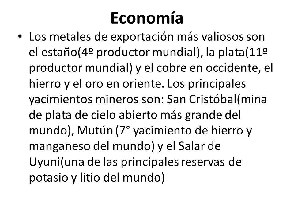 Economía Los metales de exportación más valiosos son el estaño(4º productor mundial), la plata(11º productor mundial) y el cobre en occidente, el hier