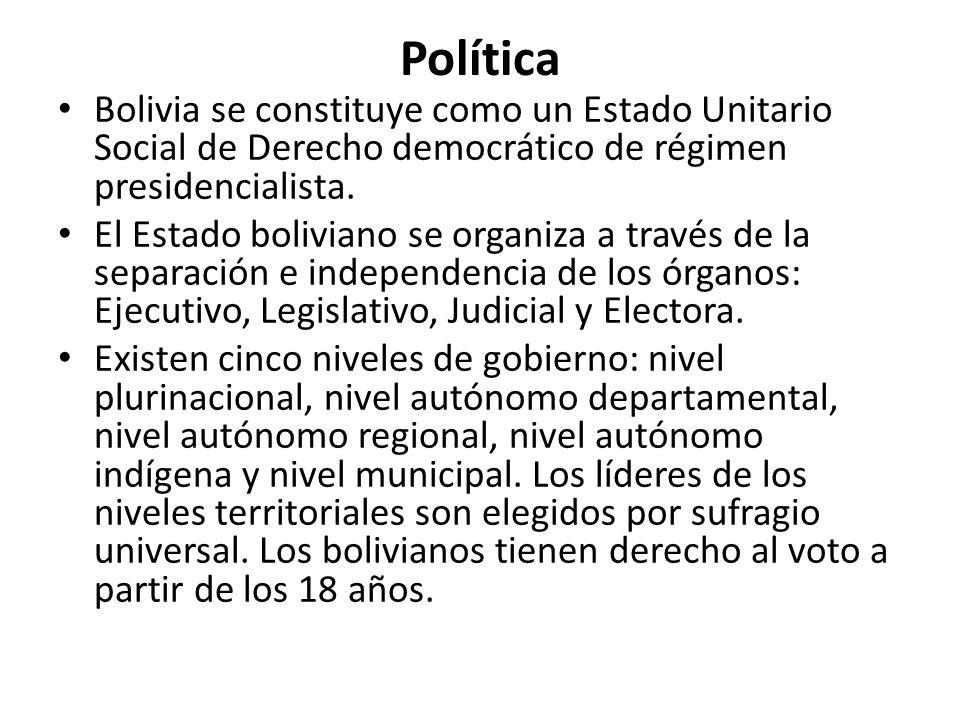 Política Bolivia se constituye como un Estado Unitario Social de Derecho democrático de régimen presidencialista. El Estado boliviano se organiza a tr