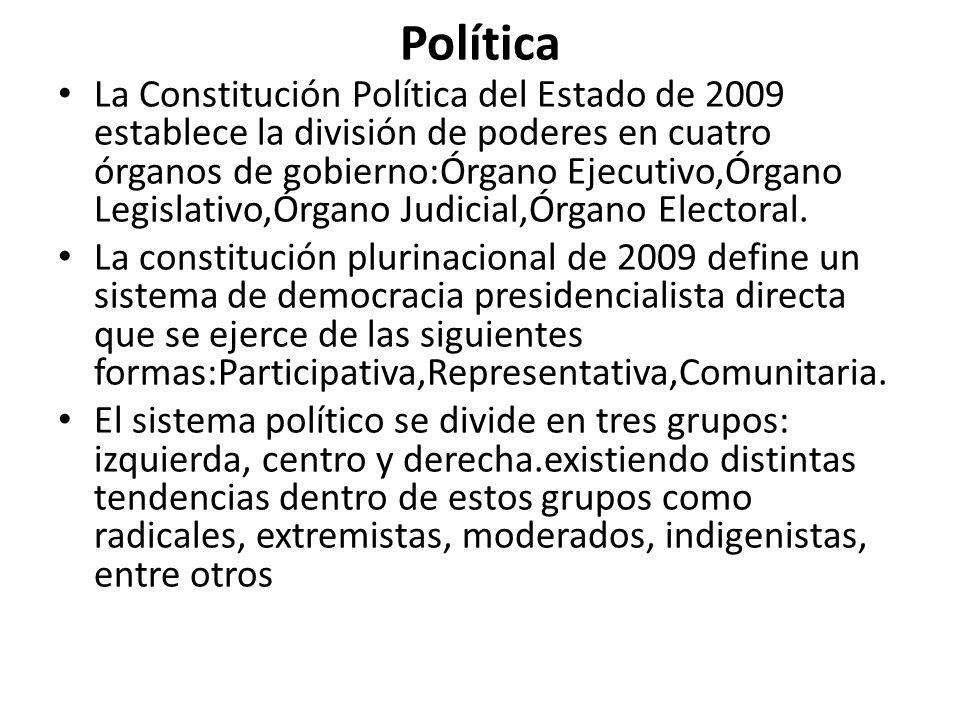 Política La Constitución Política del Estado de 2009 establece la división de poderes en cuatro órganos de gobierno:Órgano Ejecutivo,Órgano Legislativ