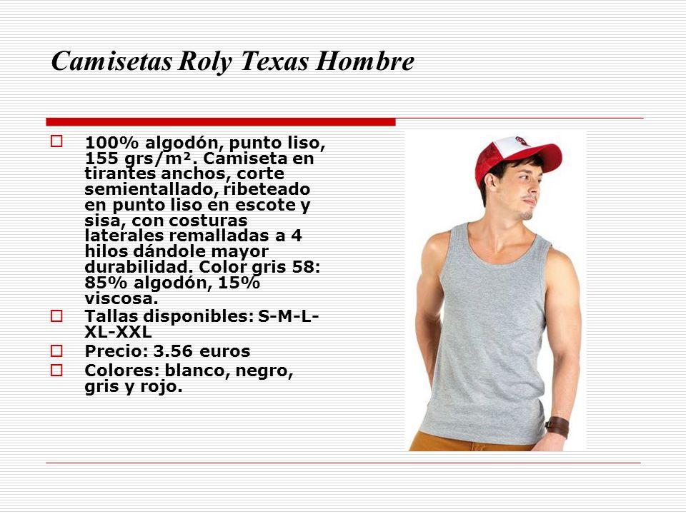 Camisetas Roly Texas Hombre 100% algodón, punto liso, 155 grs/m². Camiseta en tirantes anchos, corte semientallado, ribeteado en punto liso en escote