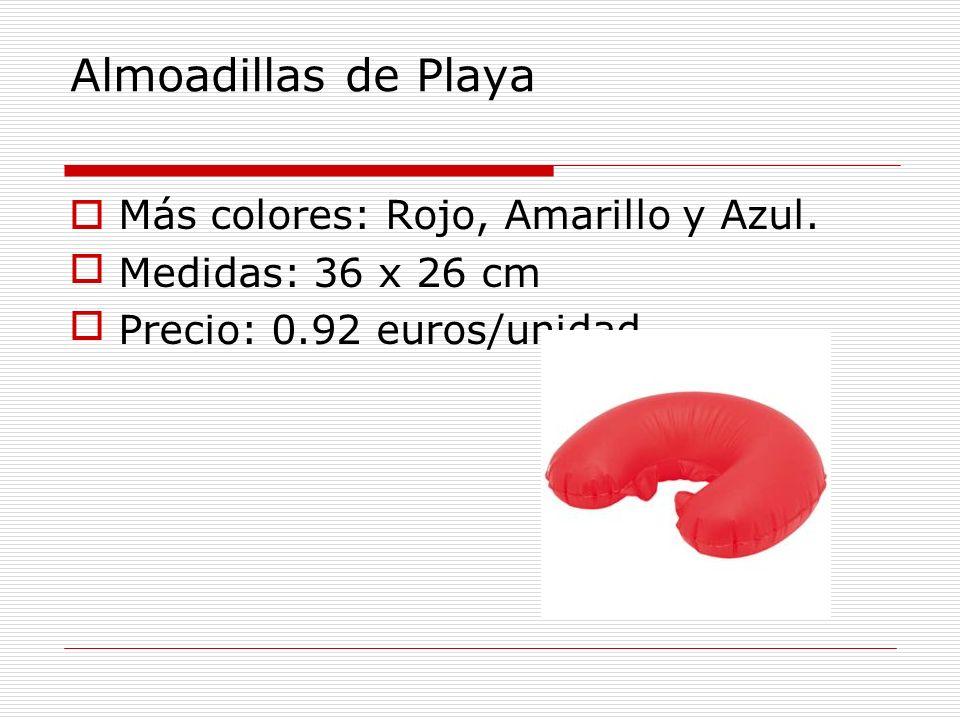 Almoadillas de Playa Más colores: Rojo, Amarillo y Azul.
