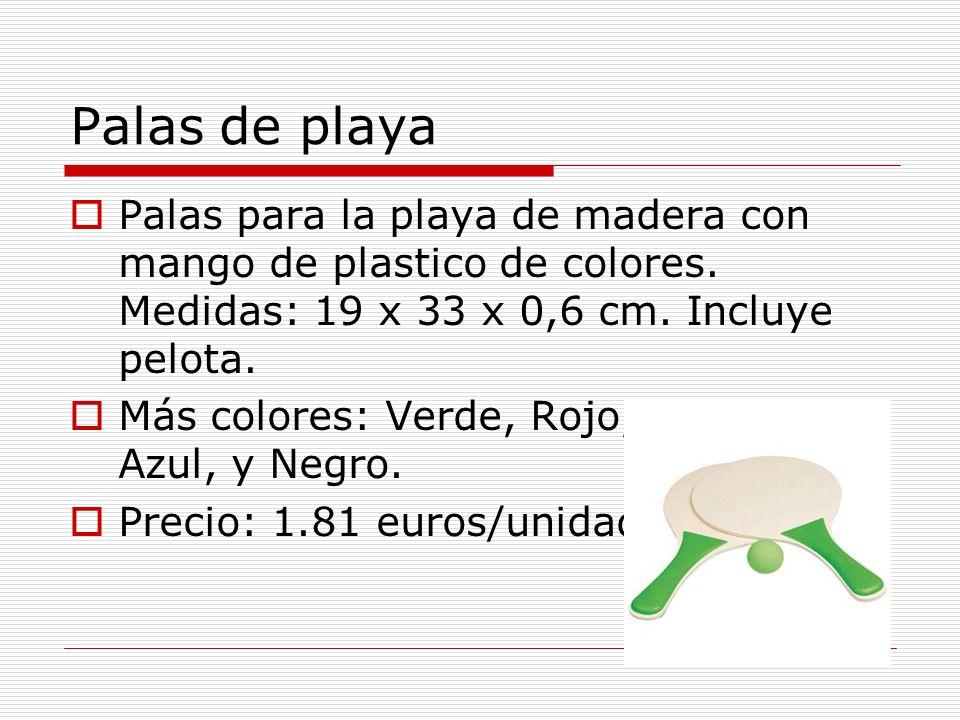 Palas de playa Palas para la playa de madera con mango de plastico de colores.