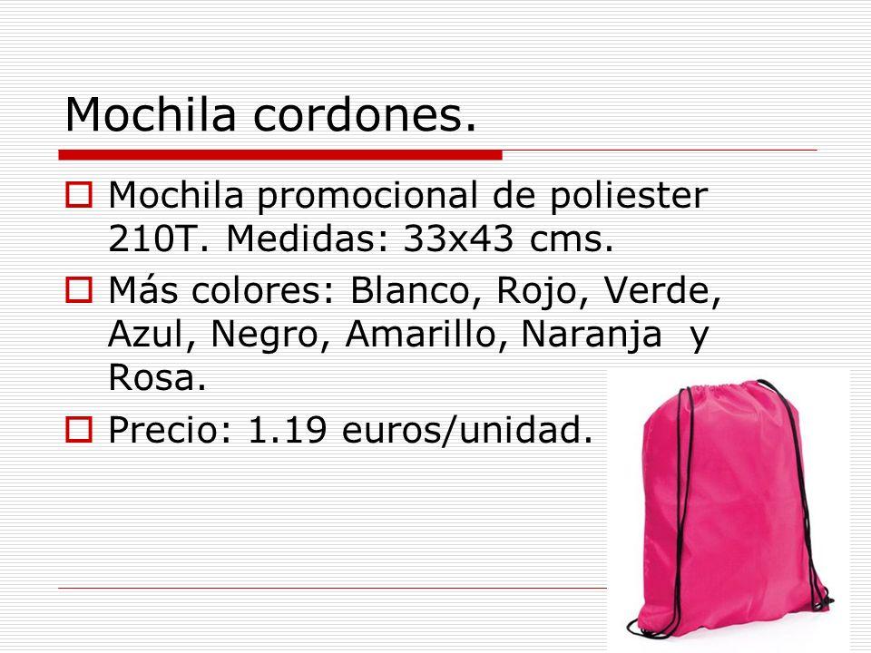 Mochila cordones. Mochila promocional de poliester 210T. Medidas: 33x43 cms. Más colores: Blanco, Rojo, Verde, Azul, Negro, Amarillo, Naranja y Rosa.