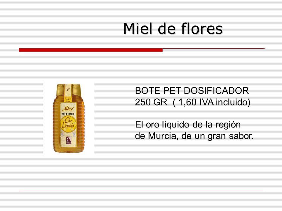 Miel de flores Miel de flores BOTE PET DOSIFICADOR 250 GR ( 1,60 IVA incluido) El oro líquido de la región de Murcia, de un gran sabor.