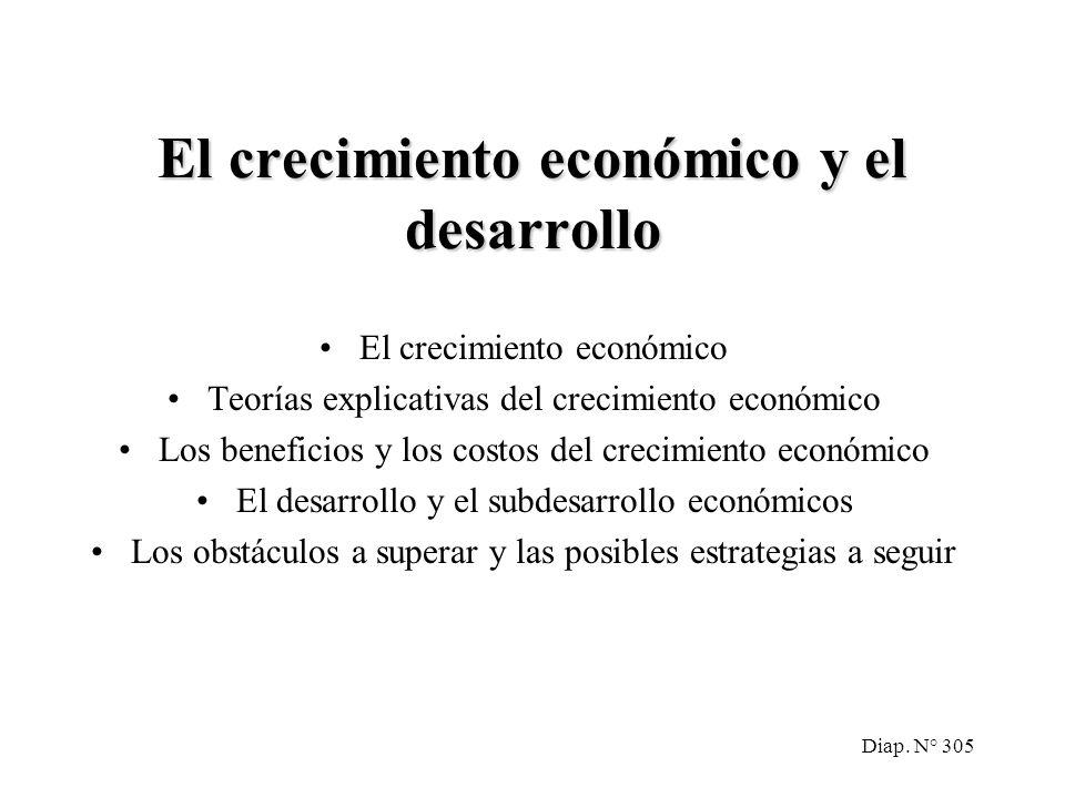Diap. N° 304 Crecimiento económico y desarrollo. Bibliografía Recomendada: MOCHON, Francisco y BEKER, Víctor A. Economía, Principios y Aplicaciones (2