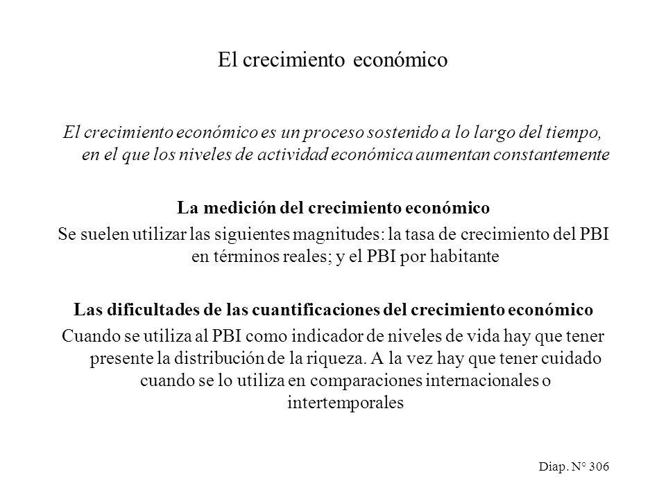 Diap. N° 305 El crecimiento económico y el desarrollo El crecimiento económico Teorías explicativas del crecimiento económico Los beneficios y los cos