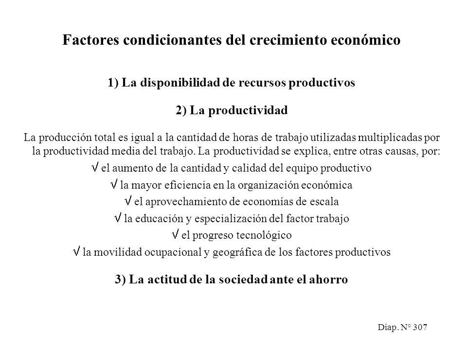 Diap. N° 306 El crecimiento económico El crecimiento económico es un proceso sostenido a lo largo del tiempo, en el que los niveles de actividad econó