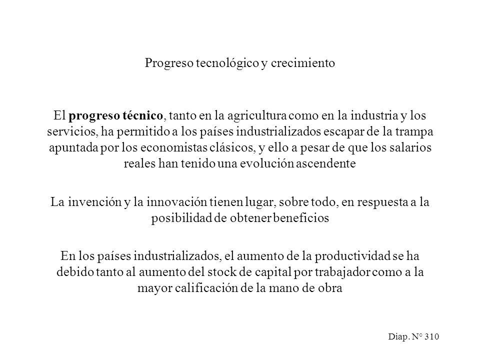 Diap. N° 309 El modelo de Ricardo y Marx: el trabajo como factor limitante Teorías explicativas del crecimiento económico Acumulación de capital Aumen