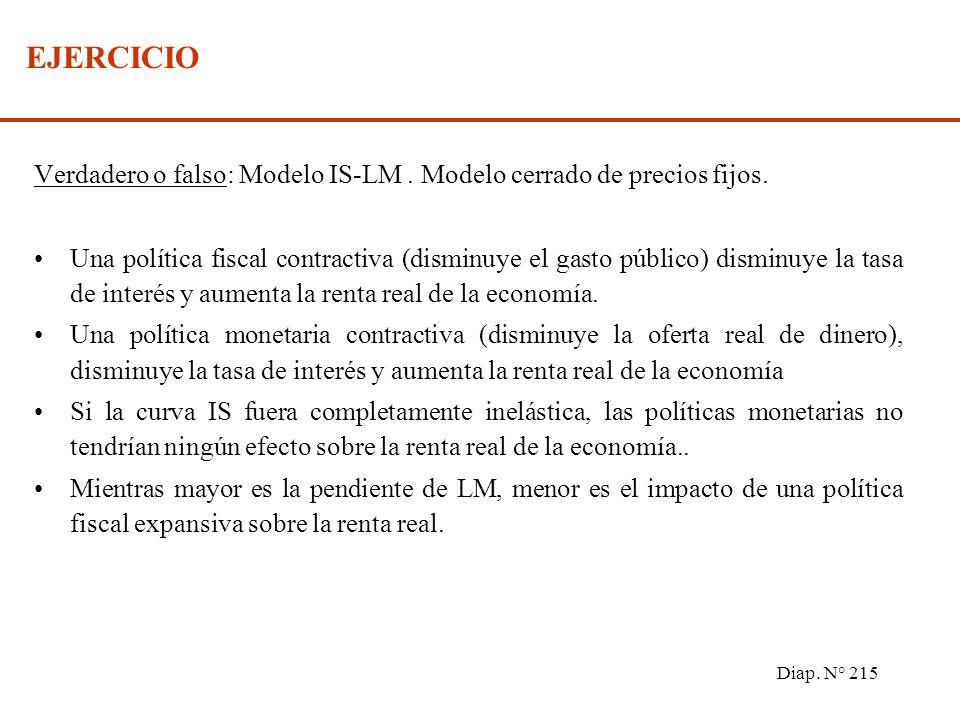 Diap. N° 214 EFECTIVIDAD DE LAS POLITICAS ECONOMICAS Política fiscal (desplazamientos de IS) => La efectividad sobre (Y,r) depende de la pendiente de