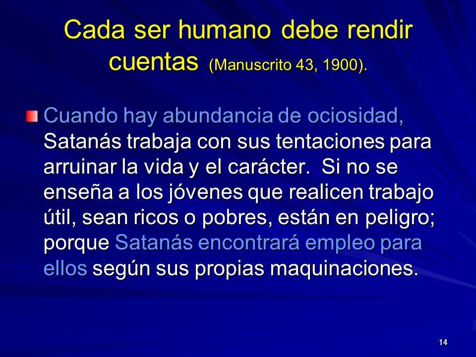 1414 Cada ser humano debe rendir cuentas (Manuscrito 43, 1900).