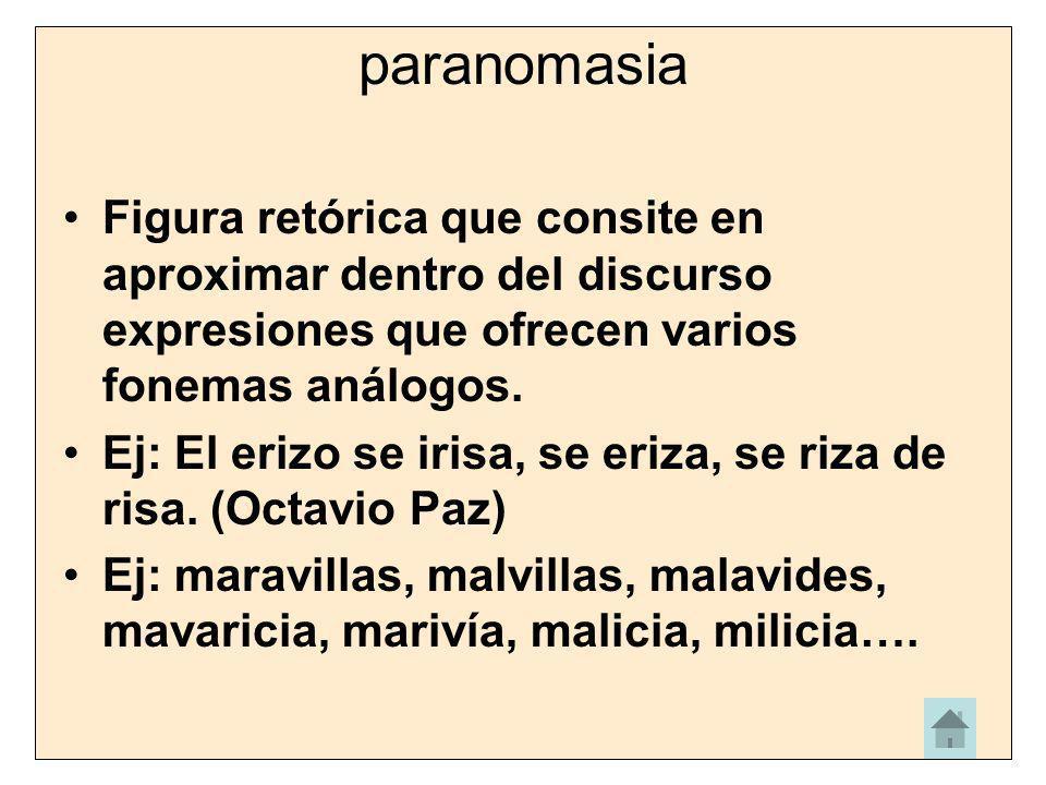 paranomasia Figura retórica que consite en aproximar dentro del discurso expresiones que ofrecen varios fonemas análogos. Ej: El erizo se irisa, se er