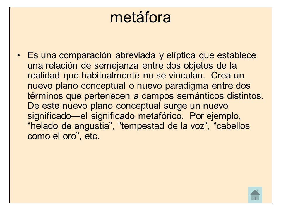 metáfora Es una comparación abreviada y elíptica que establece una relación de semejanza entre dos objetos de la realidad que habitualmente no se vinc