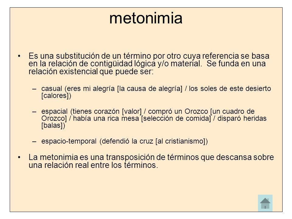 metonimia Es una substitución de un término por otro cuya referencia se basa en la relación de contigüidad lógica y/o material. Se funda en una relaci