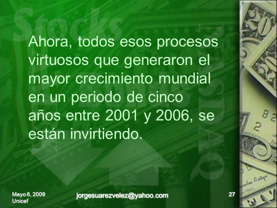 27 Ahora, todos esos procesos virtuosos que generaron el mayor crecimiento mundial en un periodo de cinco años entre 2001 y 2006, se están invirtiendo.