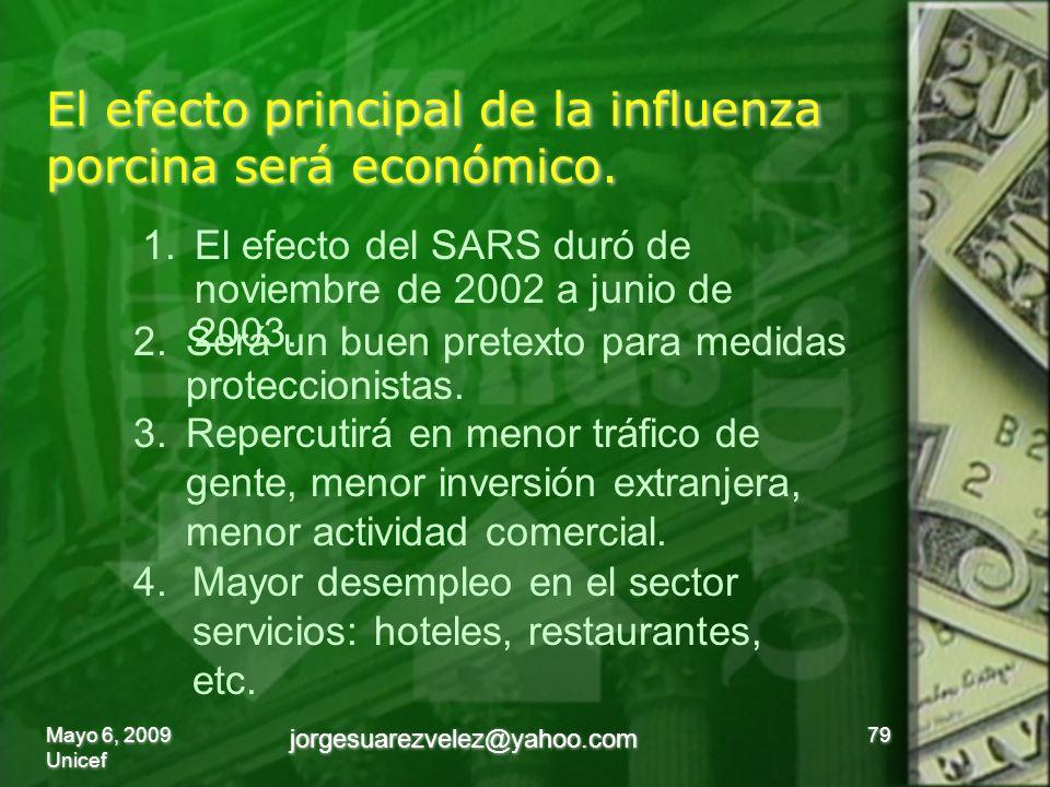 El efecto principal de la influenza porcina será económico.