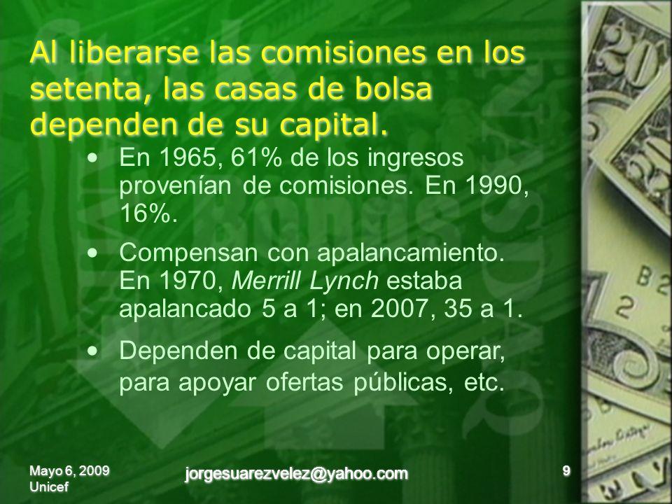 Al liberarse las comisiones en los setenta, las casas de bolsa dependen de su capital.