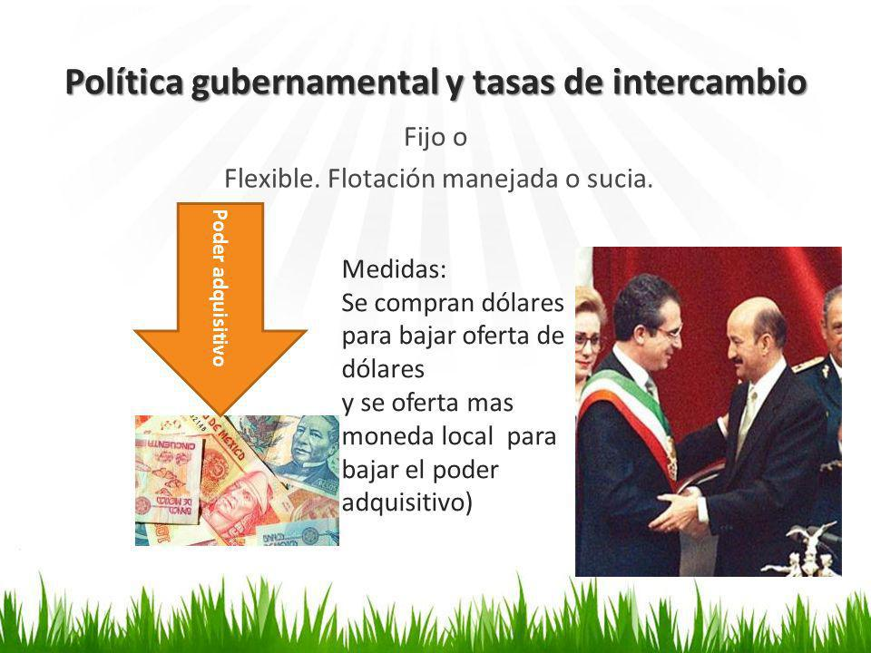 Política gubernamental y tasas de intercambio Fijo o Flexible.