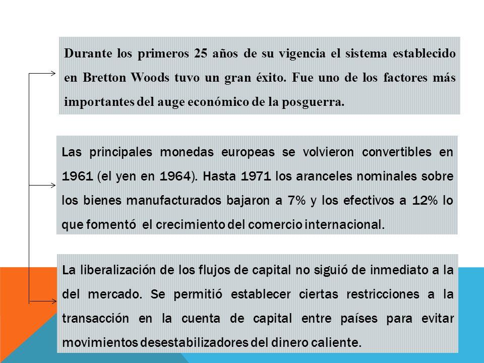 Durante los primeros 25 años de su vigencia el sistema establecido en Bretton Woods tuvo un gran éxito.