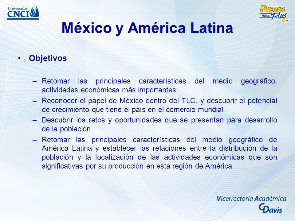 Objetivos –Retomar las principales características del medio geográfico, actividades económicas más importantes. –Reconocer el papel de México dentro