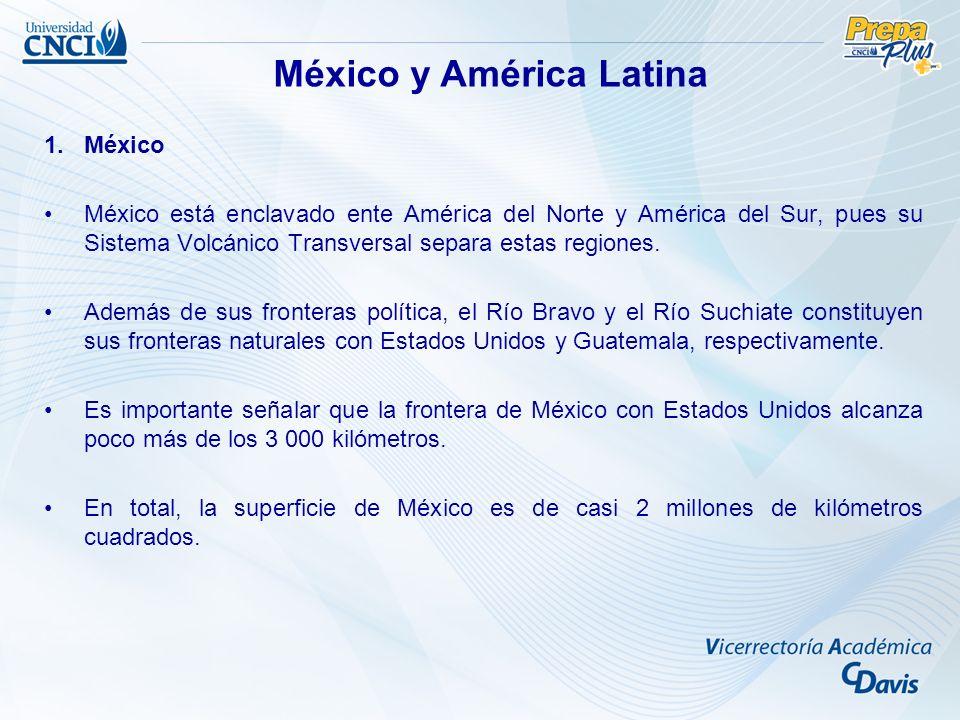 1.México México está enclavado ente América del Norte y América del Sur, pues su Sistema Volcánico Transversal separa estas regiones. Además de sus fr