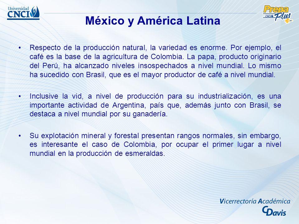 Respecto de la producción natural, la variedad es enorme. Por ejemplo, el café es la base de la agricultura de Colombia. La papa, producto originario