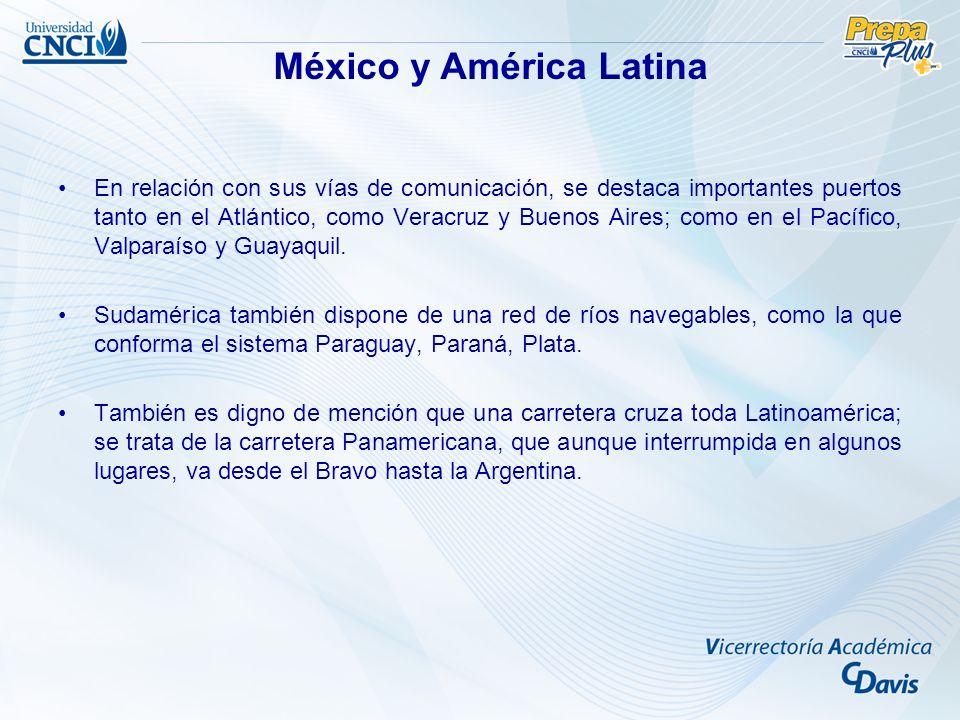 En relación con sus vías de comunicación, se destaca importantes puertos tanto en el Atlántico, como Veracruz y Buenos Aires; como en el Pacífico, Val