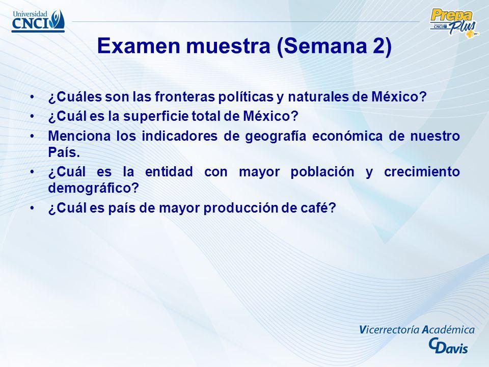 Examen muestra (Semana 2) ¿Cuáles son las fronteras políticas y naturales de México? ¿Cuál es la superficie total de México? Menciona los indicadores