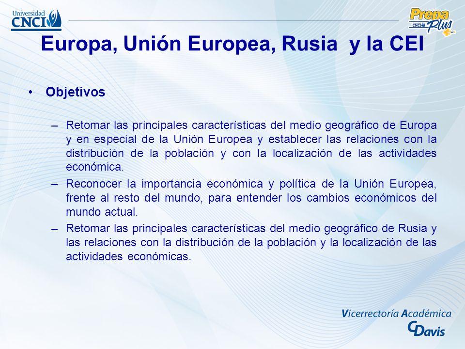 Objetivos –Retomar las principales características del medio geográfico de Europa y en especial de la Unión Europea y establecer las relaciones con la