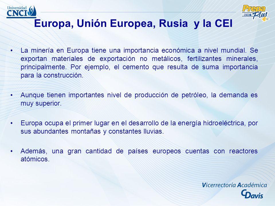 La minería en Europa tiene una importancia económica a nivel mundial. Se exportan materiales de exportación no metálicos, fertilizantes minerales, pri