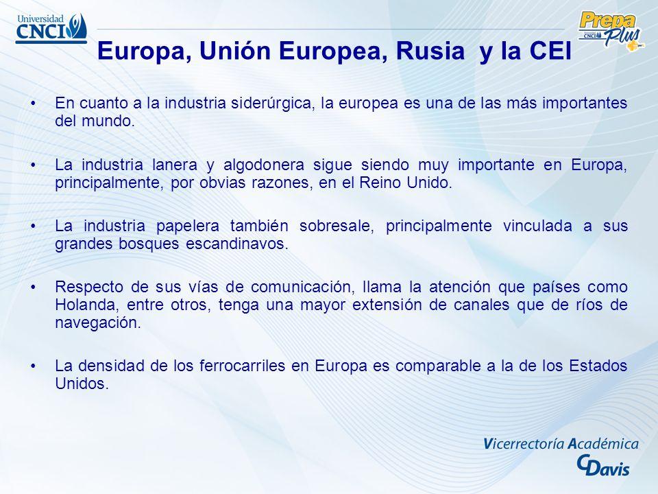 En cuanto a la industria siderúrgica, la europea es una de las más importantes del mundo. La industria lanera y algodonera sigue siendo muy importante