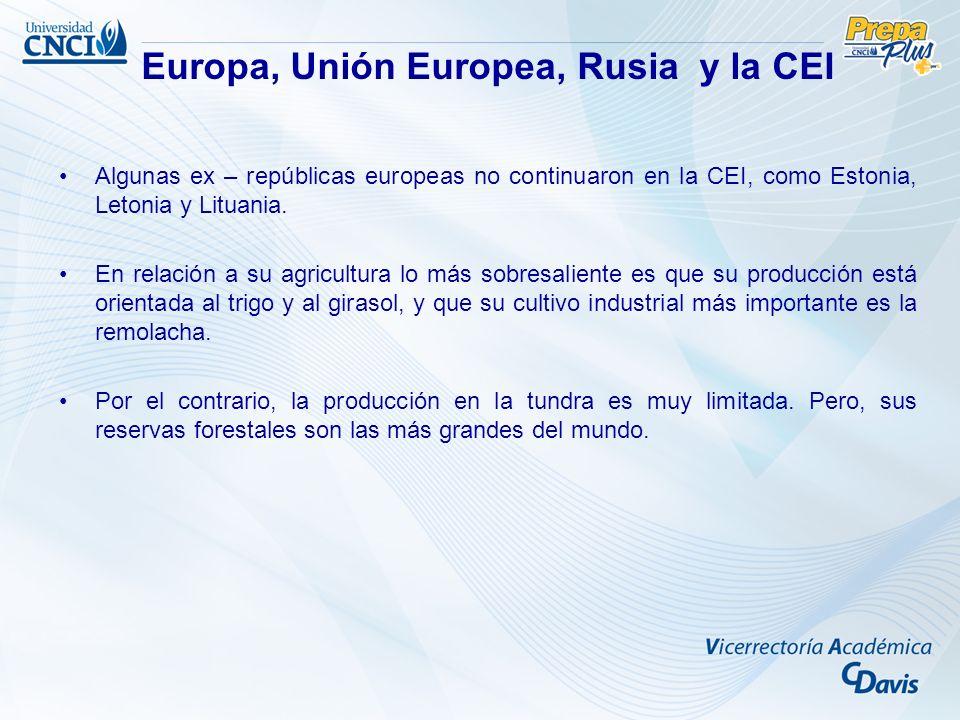 Algunas ex – repúblicas europeas no continuaron en la CEI, como Estonia, Letonia y Lituania. En relación a su agricultura lo más sobresaliente es que