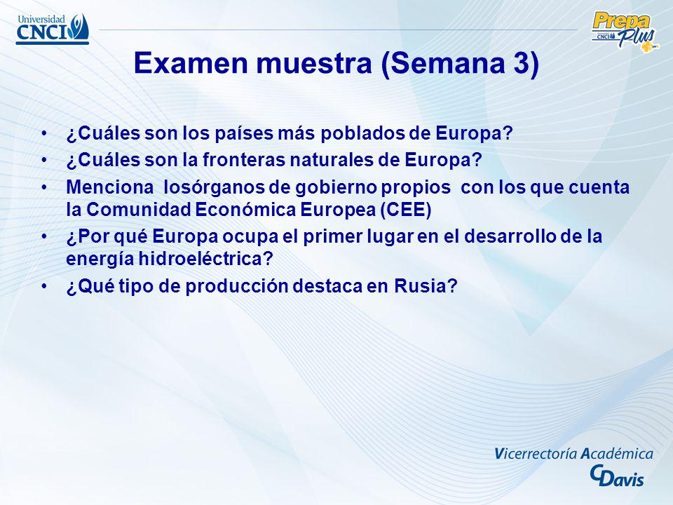 Examen muestra (Semana 3) ¿Cuáles son los países más poblados de Europa? ¿Cuáles son la fronteras naturales de Europa? Menciona losórganos de gobierno