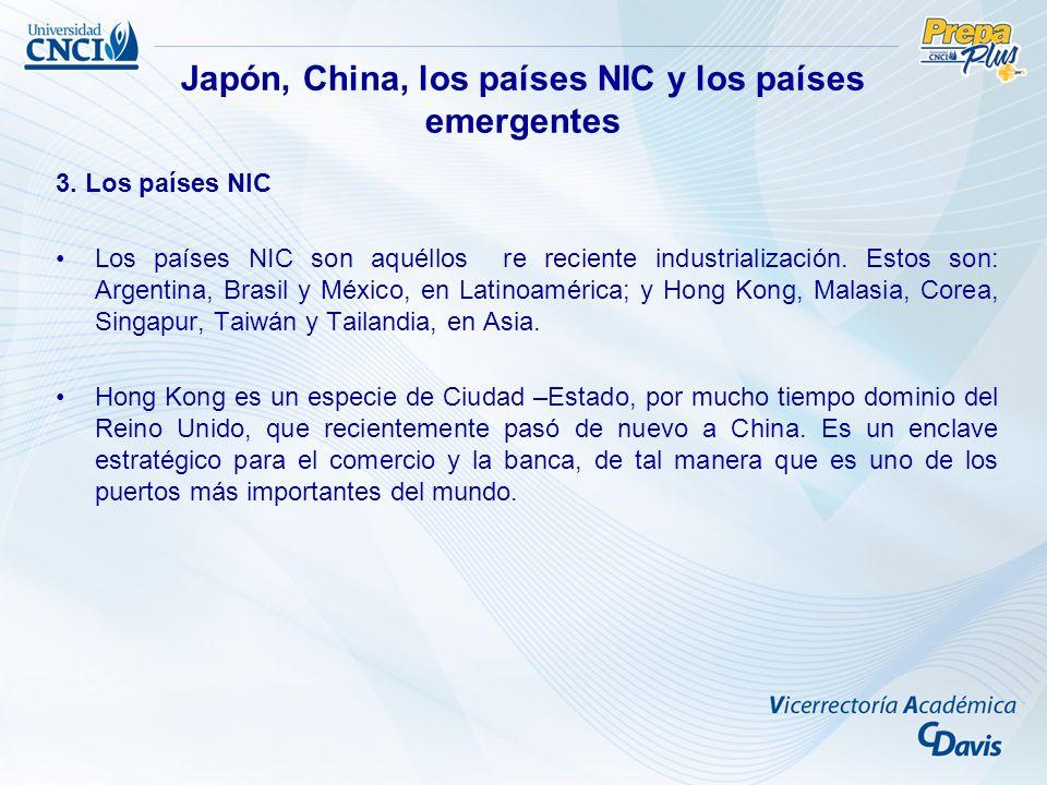 3. Los países NIC Los países NIC son aquéllos re reciente industrialización. Estos son: Argentina, Brasil y México, en Latinoamérica; y Hong Kong, Mal
