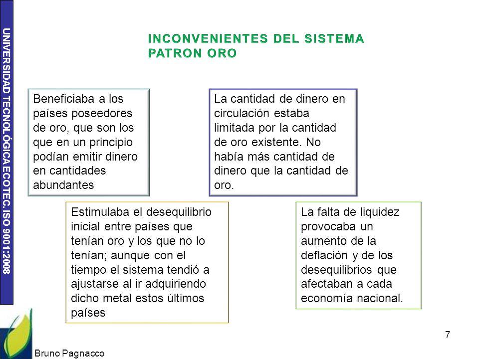 UNIVERSIDAD TECNOLÓGICA ECOTEC. ISO 9001:2008 Bruno Pagnacco 7 Beneficiaba a los países poseedores de oro, que son los que en un principio podían emit