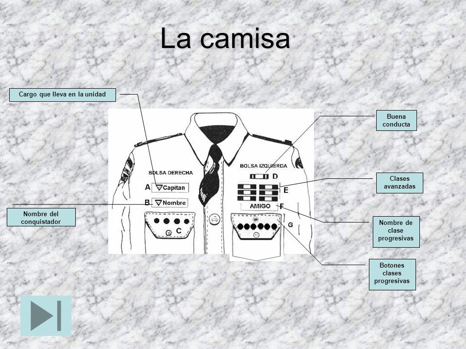Cargo que lleva en la unidad Nombre del conquistador Botones clases progresivas Nombre de clase progresivas Clases avanzadas Buena conducta La camisa